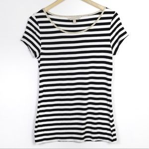 Banana Republic Striped Black and White Tee Small